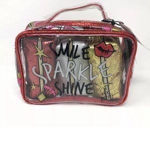 Betsey Johnson Cosmetic Bags Glitter Sparkle 4 pcs